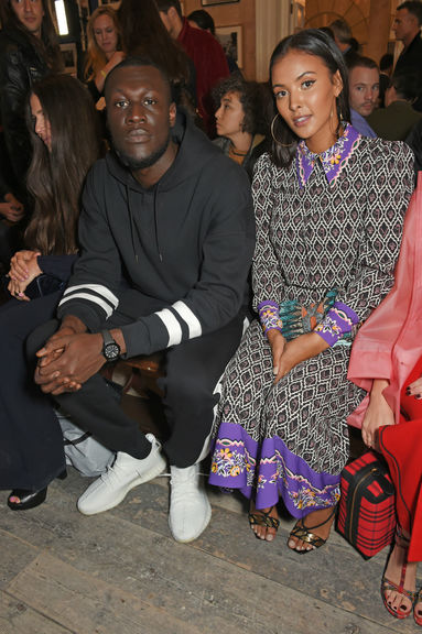 Stormzy and maya jama wearing burberry at the burberry september 2017 show